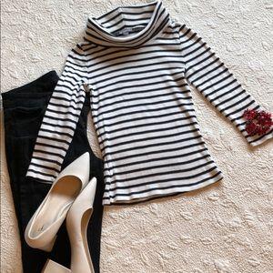 Ann Taylor Petites stripe turtleneck